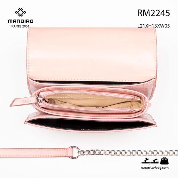 کیف رودوشی زنانه کد RM-2245 برند ماندیرو رنگ صورتی از بالا ( mandiro RM-2245 )