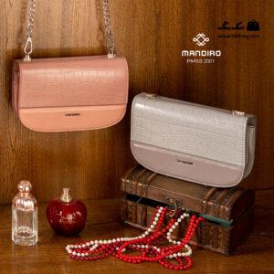 کیف رودوشی زنانه کد RM-2245 برند ماندیرو رنگ صورتی و طوسی از جلو ( mandiro RM-2245 )