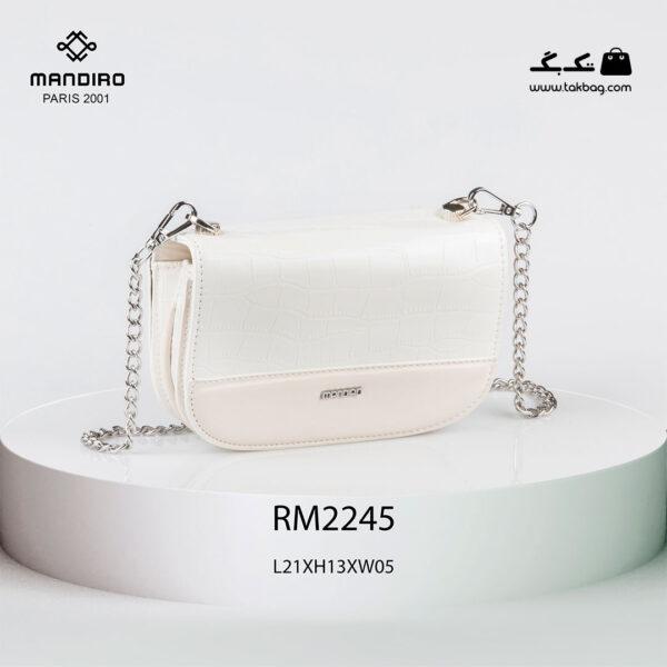 کیف رودوشی زنانه کد RM-2245 برند ماندیرو رنگ سفید از جلو ( mandiro RM-2245 )