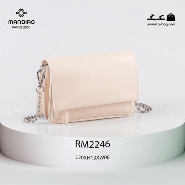 کیف رودوشی زنانه کد RM-2246 برند ماندیرو رنگ کرم از جلو ( mandiro RM-2246 )