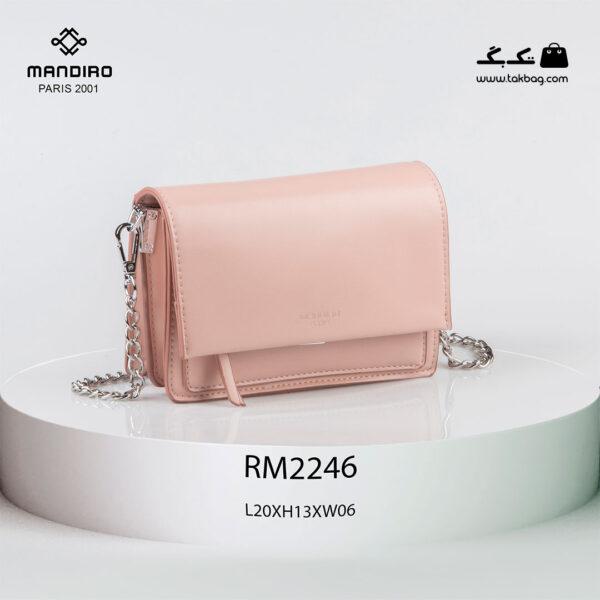 کیف رودوشی زنانه کد RM-2246 برند ماندیرو رنگ صورتی از جلو ( mandiro RM-2246 )