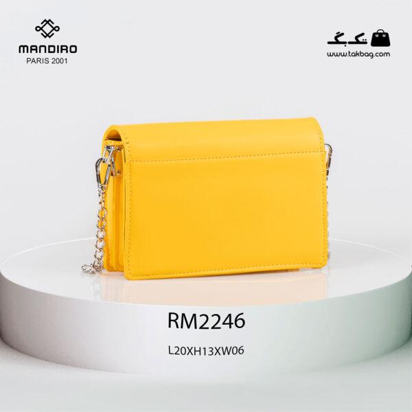 کیف رودوشی زنانه کد RM-2246 برند ماندیرو رنگ زرد از پشت ( mandiro RM-2246 )