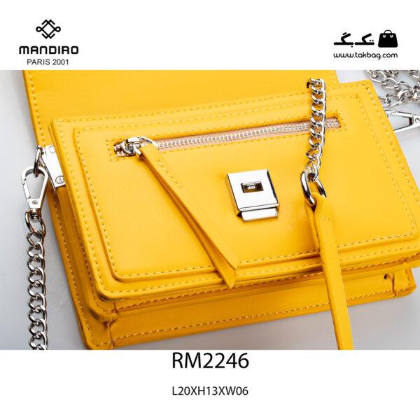 کیف رودوشی زنانه کد RM-2246 برند ماندیرو رنگ زرد از نزدیک ( mandiro RM-2246 )