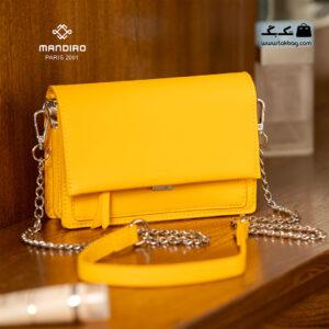 کیف رودوشی زنانه کد RM-2246 برند ماندیرو رنگ زرد از جلو ( mandiro RM-2246 )